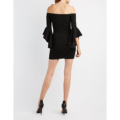 Off-The-Shoulder Cascade Sleeve Bodycon Dress