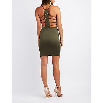 Caged Back V-Neck Bodycon Dress