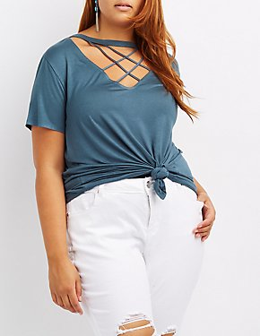 Plus Size Lattice Cut-Out Tee