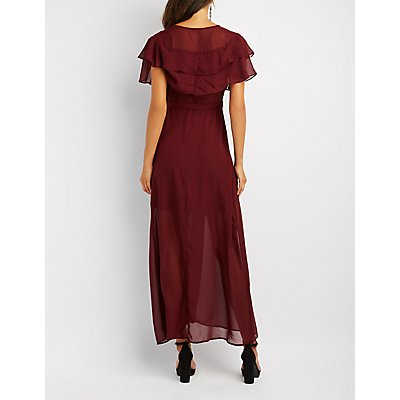 Ruffle-Trim Wrap Maxi Dress