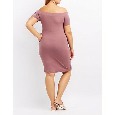 Plus Size Off-The-Shoulder Bodycon Dress