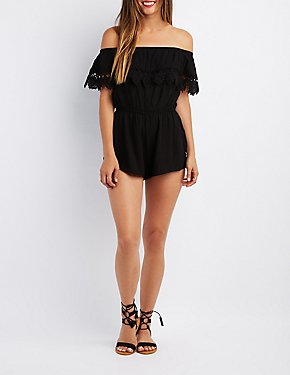 Crochet-Trim Ruffle Off-The-Shoulder Romper