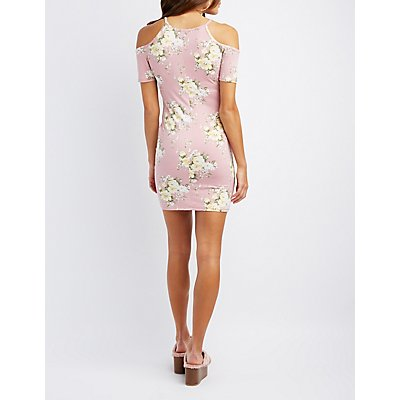 Floral Lattice Cold Shoulder Dress