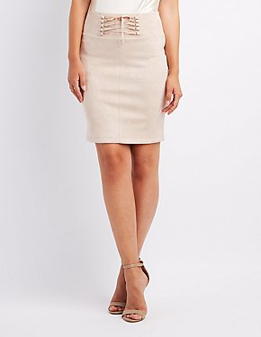 Faux Suede Corset-Detail Skirt
