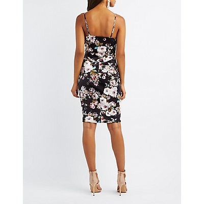 Floral Velvet Bustier Bodycon Dress