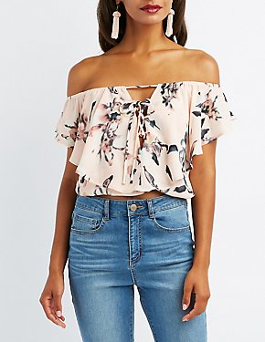 Floral Off-The-Shoulder Lace-Up Crop Top