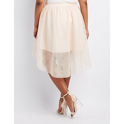 Plus Size Tulle High-Low Skirt