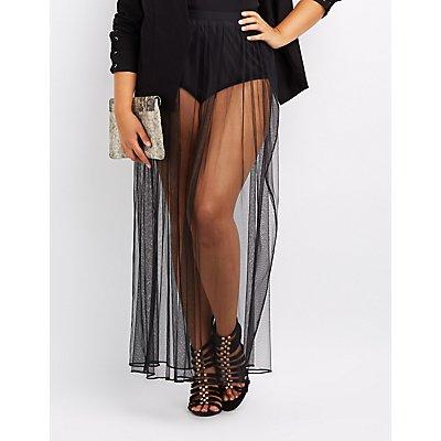 Plus Size Sheer Mesh Maxi Skirt