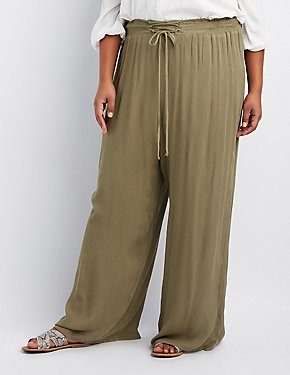 Plus Size Lace-Up Gauze Palazzo Pants