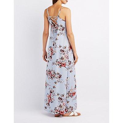 Floral Lace-Up Back Maxi Dress