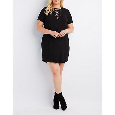 Plus Size Ribbed Lace-Up T-Shirt Dress