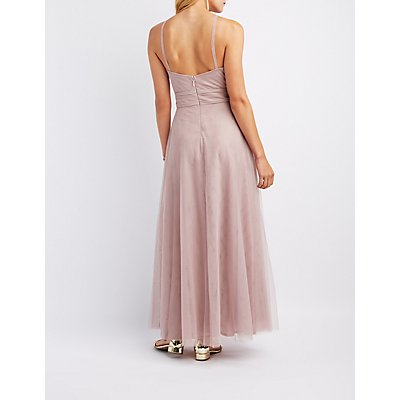 Mesh Halter Maxi Dress