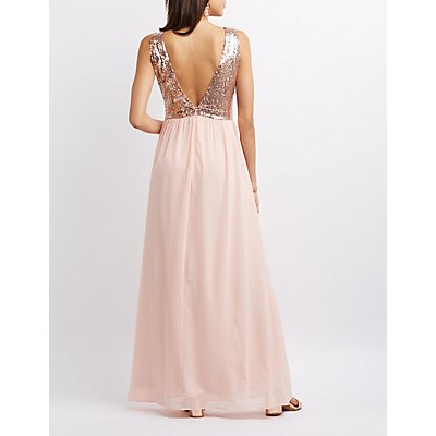 Sequin Bodice Maxi Dress