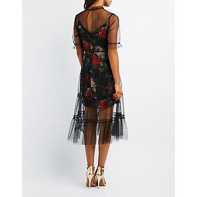 Tulle Overlay Midi Dress