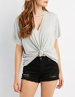 Choker Neck Cut-Out Tee