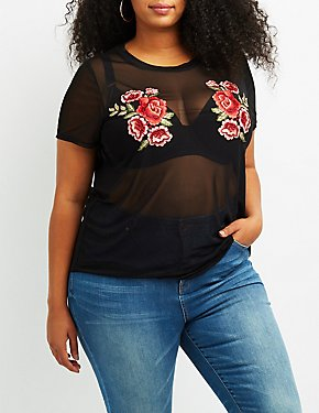 Plus Size Rose Embroidered Mesh Tee