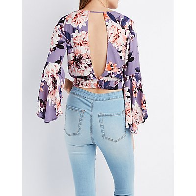 Floral Surplice Open-Back Top