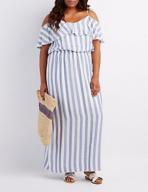 Plus Size Striped Cold Shoulder Maxi Dress