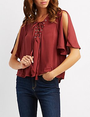 Lace-Up Split Sleeve Top