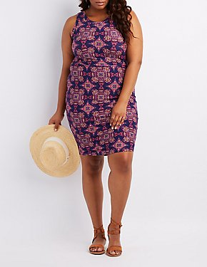 Plus Size Printed Bodycon Dress