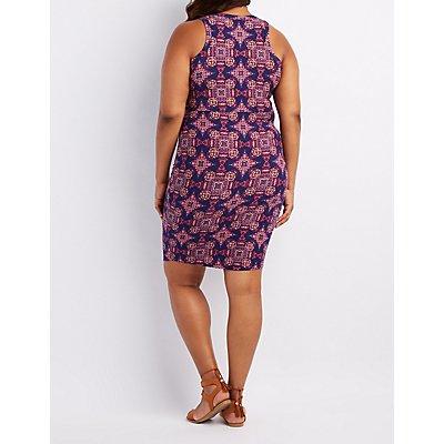 Plus Size Printed Bodycon Dress
