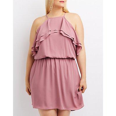 Plus Size Ruffle Bib Neck Skater Dress