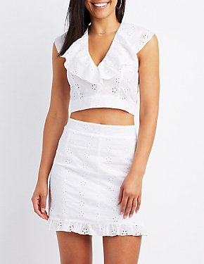 Eyelet Ruffle-Trim Crop Top