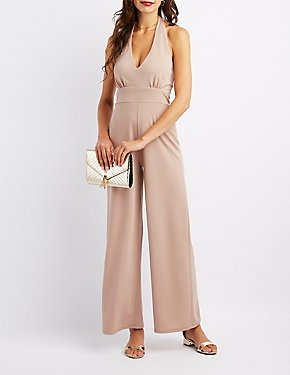 Halter Wide Leg Jumpsuits