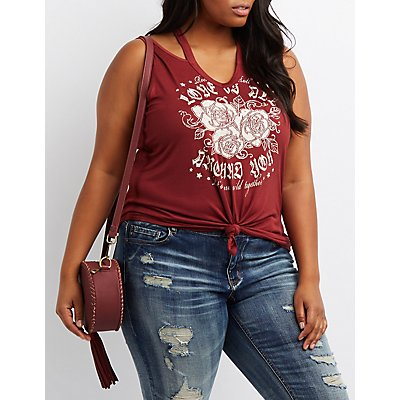 Plus Size Rose Graphic Cut-Out Tee
