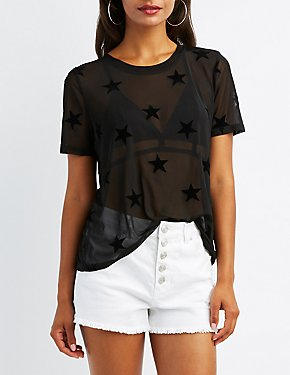 Flocked Mesh T-shirt