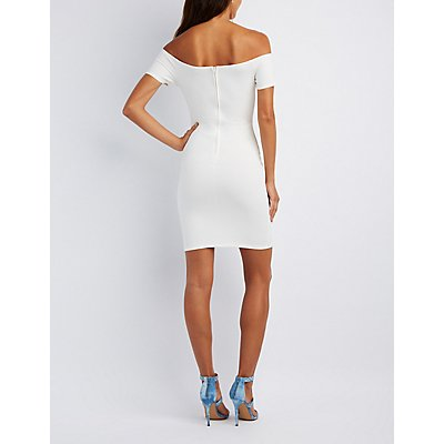 Notched Off-The-Shoulder Bodycon Dress