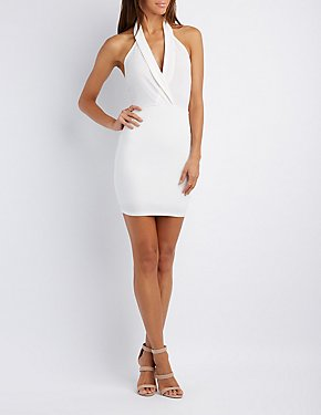 Plunging Halter Bodycon Dress