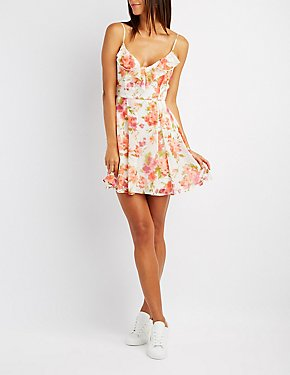Floral Ruffle-Trim Skater Dress
