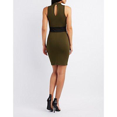 Choker Neck Corset-Detail Dress