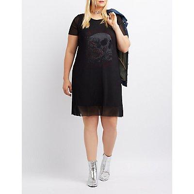 Plus Size Mesh Overlay Skull Graphic Shirtdress