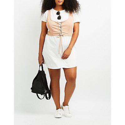 Plus Size Corset T-Shirt Dress