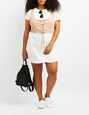 Plus Size Corset T-Shirt Dress