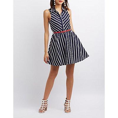 Striped Button-Up Skater Dress