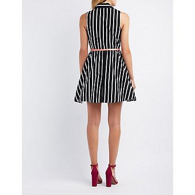 Striped Collared Skater Dress