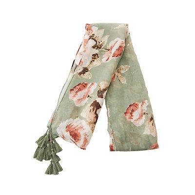 Floral Woven Tassel-Trim Scarf