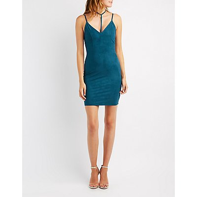 Image result for Choker Neck Faux Suede Bodycon Dress