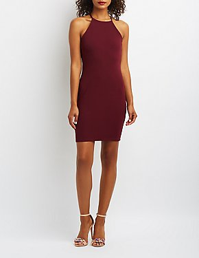 Bib Neck Lattice-Inset Bodycon Dress