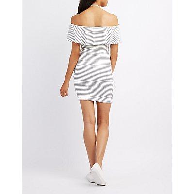 Striped Halter Cold Shoulder Bodycon Dress