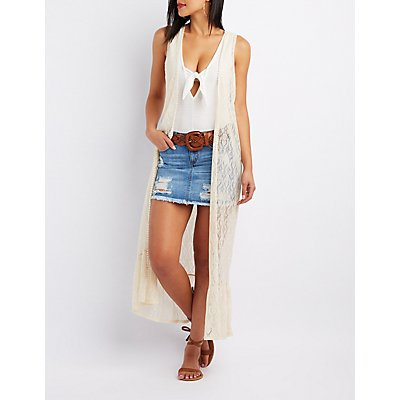 Crochet-Trim Lace Duster