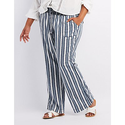 Plus Size Striped Smocked Drawstring Pants
