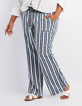 Plus Size Striped Smocked Drawstring Pants