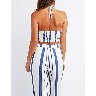 Striped Tie-Front Halter Crop Top