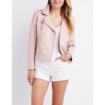 Embroidered Faux Leather Bomber Jacket