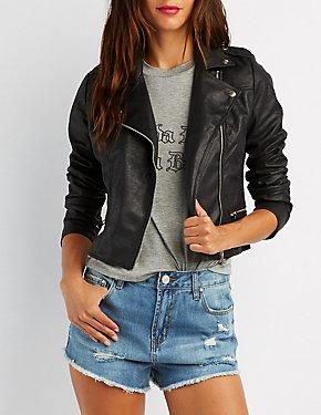 Crackled Faux Suede Moto Jacket