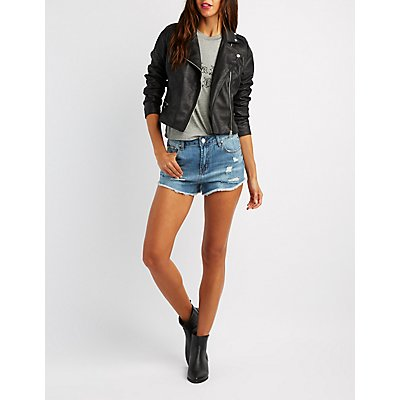 Crackled Faux Suede Moto Jacket